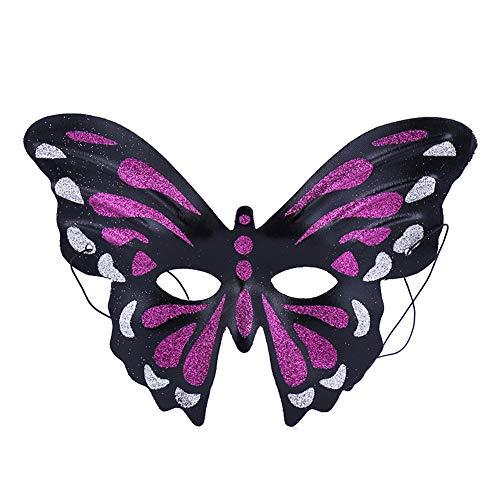 Ruikey Venezianische Maske,Schmetterling Form Maskerade Maske für Damen - rot schwarz (Rote Und Maskerade Maske Schwarze)