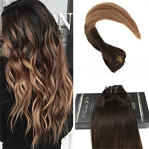 Uge 22 zoll Clip Balayage Menschen Haarverlängerungen Remy Clip in Haarverlängerungen Farbe # 4 Dunkelbraun Verblassen zu # 6 und # 14 Blonde 10Pcs Pro Set 160Gram
