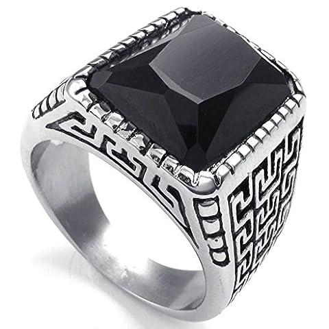 Bishiling Modeschmuck Edelstahlring Herren Ring Edelstahl Rechteck Zirkonia Silber Männerringe Größe 60 (Rechteck Lampenschirme)