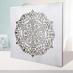 Cuadro Mandala de Pared Calada, Fabricada artesanalmente en España- Mandala 3D Cuadrada Pintada a Mano- Modelo Mosaico 122 (Blanco Envejecido, 30 x 30 m)