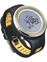 Sunroad fr800na termómetro digital Deportes al aire libre retroiluminación 5ATM impermeable brújula podómetro reloj de los hombres Relogio reloj amarillo