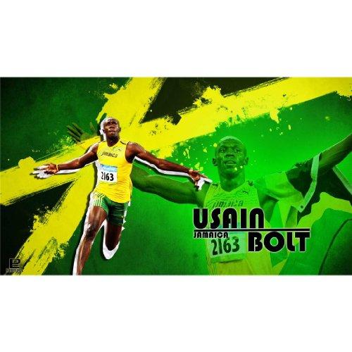 Usain Bolt (43inch x 24inch / 107cm x 60cm) Silk Print Poster - Seide Plakat - BA6481 (Bolt Seide)