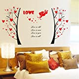 UberLyfe Valentine Cupid and Trees of Love Wall Sticker Size 4 (Wall Covering Area: 67cm x 130cm) - WS-000730