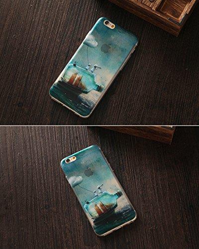 Sunroyal iPhone 6 Plus 6S Plus (5.5 Zoll) Hülle Blau Blue TPU Case Schutzhülle Silikon Rückseite Klar Clear Case Durchsichtig Bumper Zurück Bling Crystal Kirstall Diamant Strass Rhinestone Frame Rahme Kreativ 14