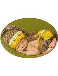 HAPPY ELEMENTS De punto hecho a mano del sombrero del ganchillo traje de bebé recién nacido fotografía apoya Conjunto