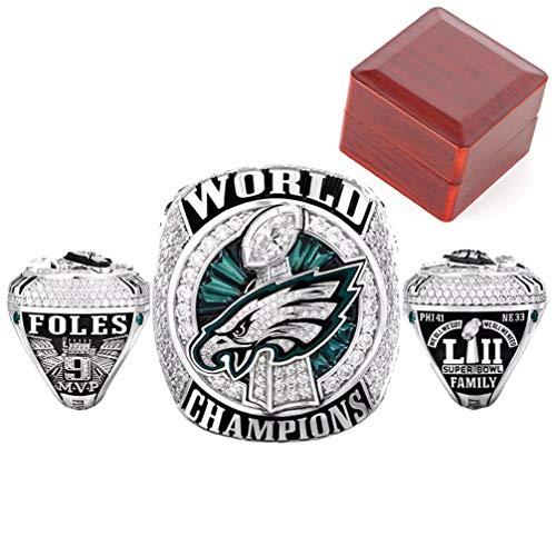 WANZIJING Anillos de Hombre, Campeonato de Filadelfia Anillo de colección Super Bowl LII World Eagles Replica Ring con Vitrina Hombre Regalo Tamaño 8-11,11