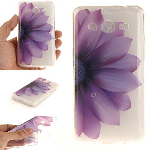Guran® Custodia in Silicone per Samsung G355 Galaxy Core 2 / Core 2 Duos Smartphone Morbida TPU Gel Gomma Cover Case-mezzo Fiore viola