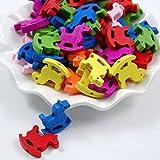 B Baosity 50 Unids de Abalorios para Niños de Madera Ecológica de 7 Colores Brillantes, Adornos y Manualidad para Joyerías Infantiles
