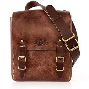 SID & VAIN Umhängetasche Leder Duncan klein Messenger Bag Herren Laptop Schultertasche echte Ledertasche Herrentasche braun
