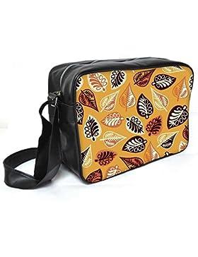 Snoogg Abstrakt Blätter gelb Leder Unisex Messenger Bag für College Schule täglichen Gebrauch Tasche Material PU
