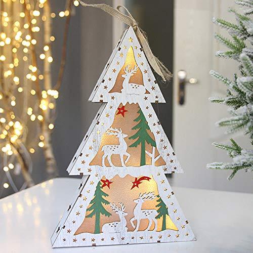 Pottoa Weihnachtsschreibtisch-Leuchtender Geschenk-HöLzerner Dekorations-Elch Santa Claus Home Decoration Weihnachtsbaum Heimtextilien