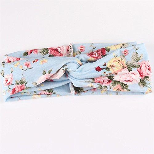 Fashion femmes fleur imprimé printemps de cheveux bande bandeau Turban