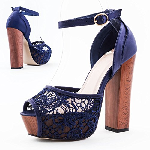 Damen Plateau Block Ankle Stiefeletten mit Spitze Lederoptik Holzoptik Blockabsatz Blau