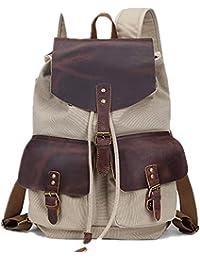 Preisvergleich für 5 ALL Rucksack Damen Herren Schulrucksack Daypack für Schule Outdoor Reise Canvas Vintage Leder Gro ß