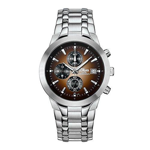 s. Oliver Men's Quartz Watch with Black Dial Analogue Display Quartz Chronograph 15054/MCR