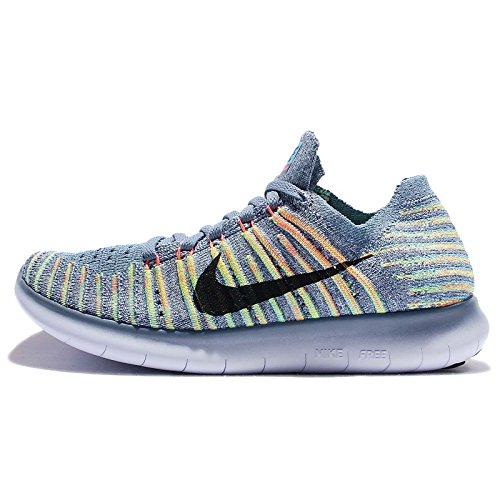 Nike Wmns Free Rn Flyknit, Scarpe da Corsa Donna Ocean Fog/Black Bright Mango