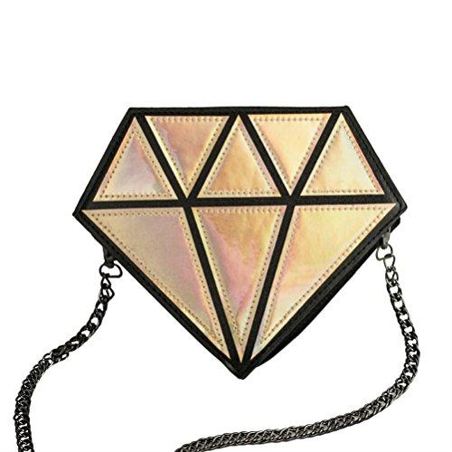 Honeymall ologramma trasparente Borsa Messenger da Donna a forma di diamante laser olografico Crossbody Catena bag Viola Oro