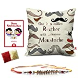 #7: Rakshabandhan Rakhi Gifts Hamper Designer Crystal Studded Rakhi for Brother with Roli Chawal & Happy Rakshabandhan Greeting Card One in a Million Brother with Awesome Moustache Printed 12x12 Cushion with Filler Perfect Rakhi Gift Combo for Brother Bhaiya (Rakhi for Rakshabandhan, Rakhi Gifts for Brother, Rakhi)
