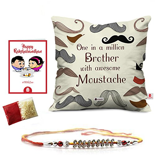 Rakshabandhan Rakhi Gifts Hamper Designer Crystal Studded Rakhi for Brother with Roli Chawal & Happy Rakshabandhan Greeting Card One in a Million Brother with Awesome Moustache Printed 12x12 Cushion with Filler Perfect Rakhi Gift Combo for Brother Bhaiya (Rakhi for Rakshabandhan, Rakhi Gifts for Brother, Rakhi)