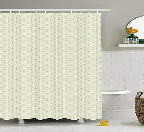 XIAOYI Retro Shower Curtain, Vertical Geometric Circular Pattern with Dots Continuous Chain Design, Fabric Bathroom Decor Set with Hooks, 60x72 Inches, Light Lavander and Cream -