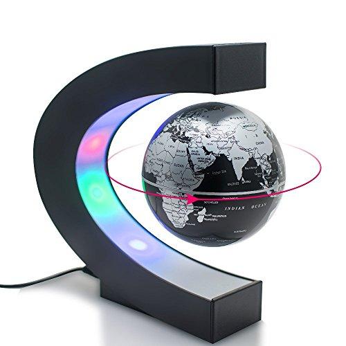 Globo flotante Joso con luces LED, globo 360 ° C forma magnética Levitación misteriosamente suspendido en el mapa del mundo del aire para aprender la educación enseñanza regalo de Navidad (negro)