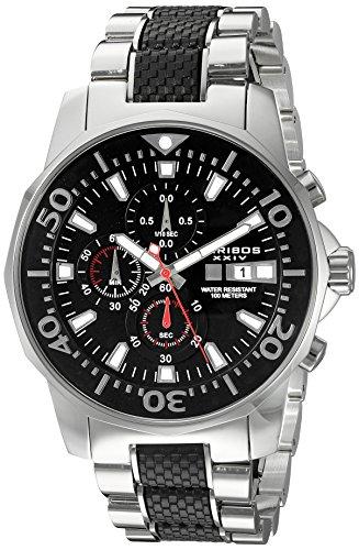 Akribos XXIV Men's AK857TTB Dodecagonal Black Dial Chronograph Quartz Stainless Steel Bracelet Watch