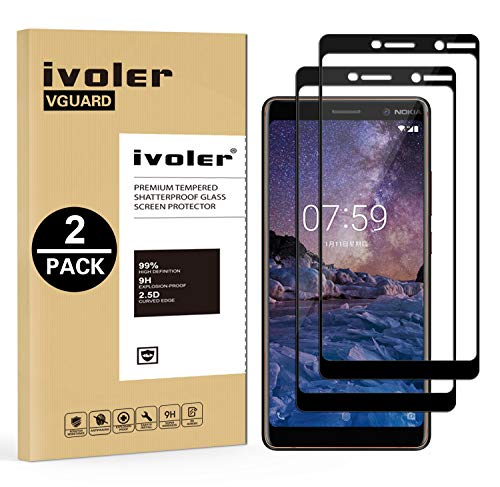 iVoler [2 Pack] Pellicola Vetro Temperato per Nokia 7 Plus, [Copertura Completa] Pellicola Protettiva Protezione per Schermo per Nokia 7 Plus