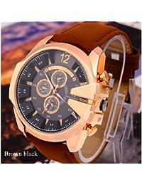 Relojes Hermosos, Relojes de moda ocio deporte de los hombres del reloj fresco súper v6 cinturón dial grande ( Color : Marrón )