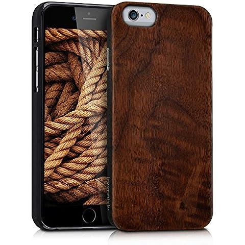kwmobile Funda de madera para Apple iPhone 6 / 6S Carcasa - Funda para teléfono funda protectora de madera en madera de nogal marrón