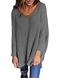 f57472ba3210f LAEMILIA Pull Femme Grand Taille Tricots Col V Manches Longues Pullover  Hauts Chemisier Jumper Casual Automne