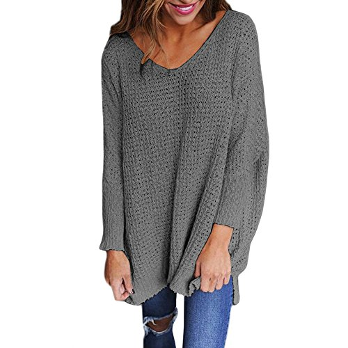 LAEMILIA Pull Femme Grand Taille Tricots Col V Manches Longues Pullover Hauts Chemisier Jumper Casual Automne Hiver Gris