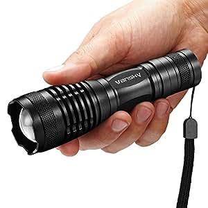 Vansky® Torcia Led 5 Modalità Torce Led Alta Potenza, Zoomable Torce Militari Torcia Elettrica Impermeabile, 3 x Batterie AAA Incluso