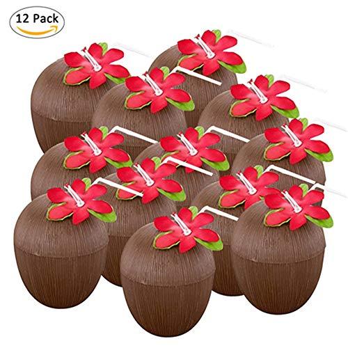tstoff-Kokos-Cups mit dekorativer Blume für Beachside und Poolside Parties - perfekt für Luau, Tiki und Strand Themenpartys Spaß Trinken oder Dekoration Tassen ()