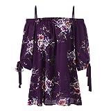 IMJONO Damen stehkragenbluse Shirtbluse schlupfblusen flanellbluse kurzarmblusen Baumwollbluse blusenshirts Jeansbluse Streifenbluse chiffonblusen Wickelbluse (EU-46/CN-3XL,Lila)