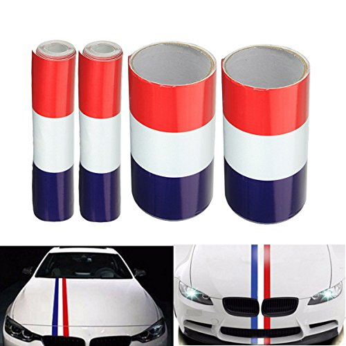 15cm Vinyl Red/White/Blue France Flag Stripe Auto Sticker Hood Decal Emblem Decoration