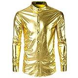 Langarmshirt Für Herren, Stehkragen Langarmhemd Einfarbig Lange Ärmel Shirt Bemalte T-Shirt Langärmlige Hemd Lackleder Longshirt Top Bluse Resplend