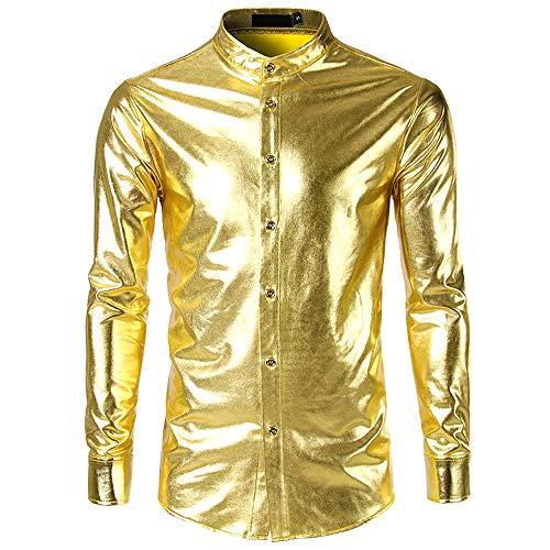Geilisungren Herren Hemd Mode Metallic Glänzend Bügelfreie Langarmshirt Glitzer Slim Fit Stehkragen Knöpfen Hemden Kostüm für Nightclub Party Tanzen Disco Halloween ()