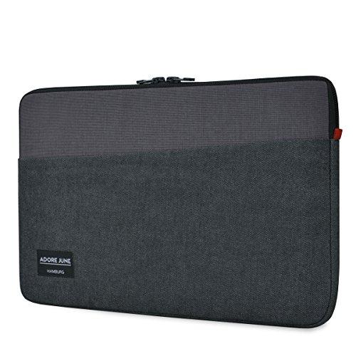 Adore June 13,3 Zoll Hülle [Serie CLIVE] Speziell für Apple MacBook Pro 13 2016-2018 Sleeve Tasche [widerstandsfähiger Textil-Stoff] Apple MacBook Pro 13 2016-2018 Case mit Extrafach [Schwarz/Grau]