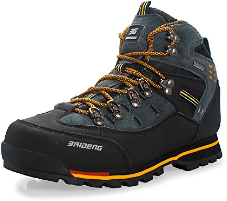 GOMNEAR Zapatillas de Trail Hombre Botas de Senderismo Deportivas de caminata de Cuero con Cordones Zapatos 38-46