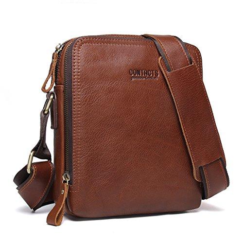 Contacts Echtes Leder Mens iPad Messenger Crossbody Tasche Tote Handtasche Braun - Leder Messenger Handtasche
