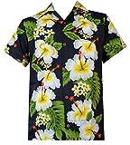 Hawaii-Hemd der Männer Hibiskus mit Blumenmuster Beach Camp-Party-Schwarz XL