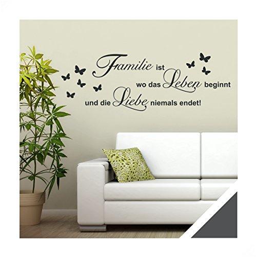 Exklusivpro Wandtattoo Spruch Worte Familie ist Leben Liebe inkl. Rakel (zit46 dunkelgrau) 150 x 51 cm mit Farb- u. Größenauswahl
