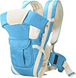 BabyGo Soft Adjustable 4-in-1 Baby Carrier with Comfortable Head Support and Buckle Straps (Sky Blue)