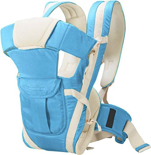 BabyGo Soft Adjustable 4-in-1 Baby Carrier with Comfortable Head Support & Buckle Straps (Sky Blue)