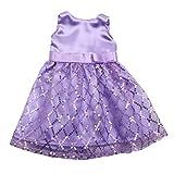 Baoblade Handgemacht Puppen Pailletten ärmelloses Kleid Prinzessin für 18 '' American Girl Puppe Kleidung Zubehör - Lila