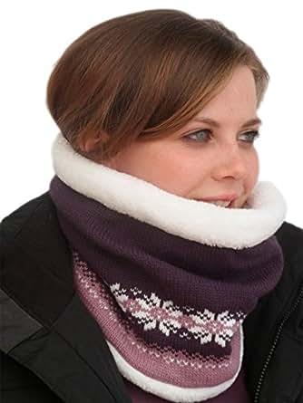 Unisex Luxury Fairisle Thermal Snood/Hat Neck Tube. Purple