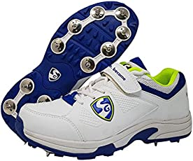 SG Sierra Cricket Spike Shoes, Size 8 (White/Lime/Blue)