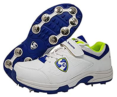 SG Sierra Cricket Spike Shoes, Size 6 (White/Lime/Blue)