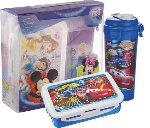 Pawan Plastic SKI Disney Kids Racing Car Printed Lock Seal Gift Set of Lunch Box and Sporty Glass Tumbler for Kids, (large)