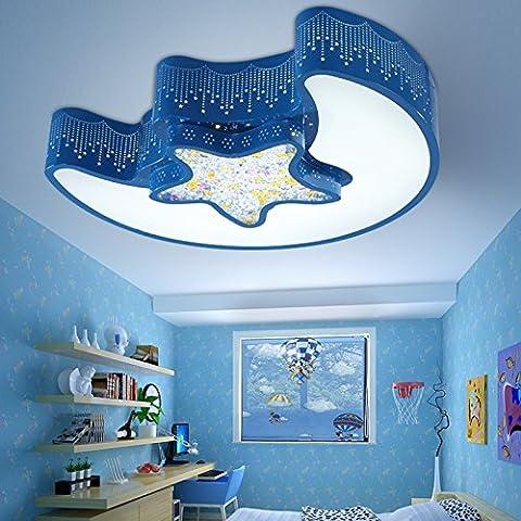 LbcvhStanza dei bambini cartoon LED luci a soffitto ragazze camera da letto bella principessa cartoon moderna luminosa stella creativa Luna occhio di luce a soffitto L54*W43*H12CM blue